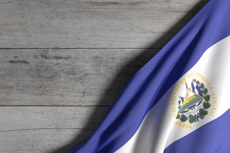 bandera de el salvador: representación 3D de la bandera de República de El Salvador en una madera