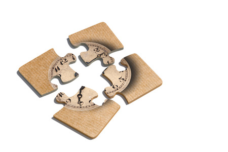 hour hand: 3d rendering of close-up of four puzzle pieces with print of old-fashioned shabby clock on paper background Stock Photo