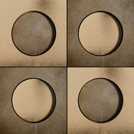 bronzed: 3d rendering of abstract geometric circles on bronzed backdrop Stock Photo