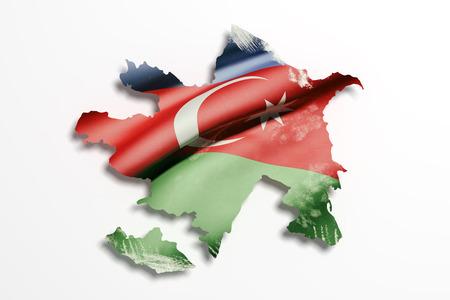 eastern europe: 3d rendering of Azerbaijan map and flag