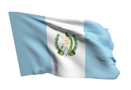bandera de guatemala: Las 3D de la bandera de Guatemala ondeando en el fondo blanco Foto de archivo