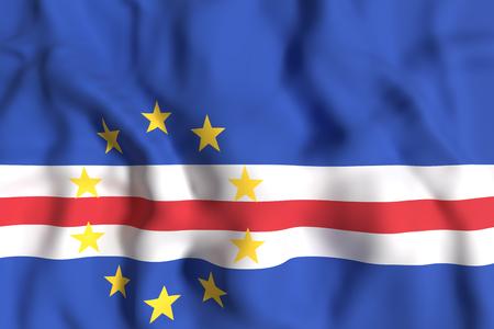 3d rendering of Republic of Cape Verde flag waving