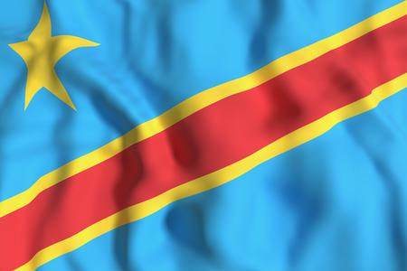 Congo: 3d rendering of  Democratic Republic of Congo flag waving Stock Photo