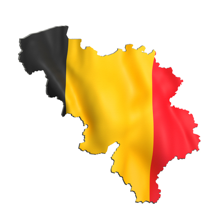 3d rendering of Belgium map and flag on white background.