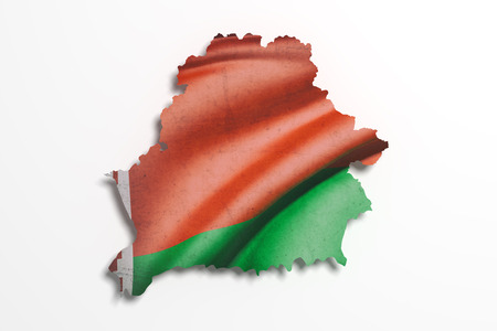 frontage: 3d rendering of Belarus map and flag on white background.