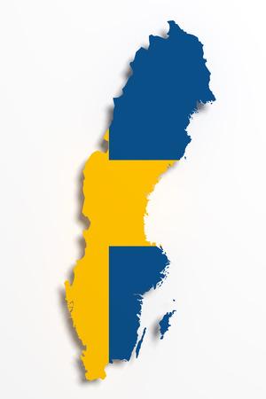 sweden map: 3d rendering of Sweden map and flag.