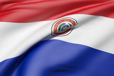 3d rendering of Republic of Paraguay flag waving