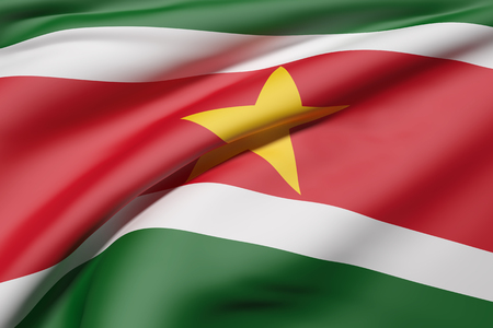 suriname: 3d rendering of Republic of Suriname flag waving