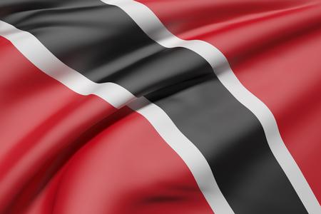 3d rendering of Republic of Trinidad and Tobago flag waving