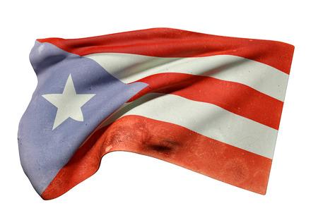 bandera de puerto rico: 3d prestación de un viejo y sucio Asociado de Puerto Rico bandera ondeando en el fondo blanco