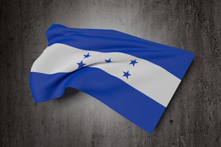 bandera honduras: Las 3D de la bandera de Honduras que agita en un fondo sucio Foto de archivo