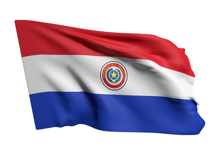 3d rendering of Republic of Paraguay flag waving on white background Stock Photo