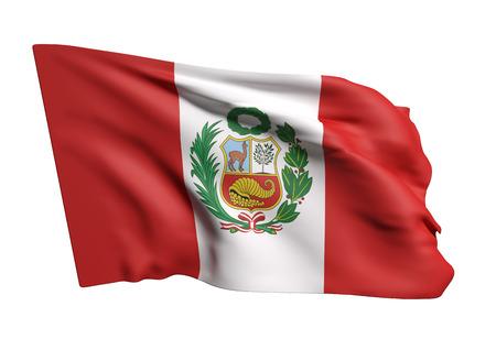 bandera de peru: representación 3D de bandera de la República del Perú que agita en el fondo blanco