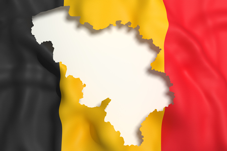 frontage: 3d rendering of Belgium map and flag on background.
