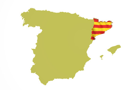 catalonia: 3d rendering of  map of Catalonia with Catalonia flag and Spain map Stock Photo