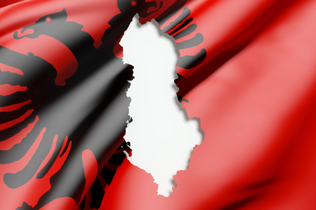 national geographic: 3d rendering of Albania map and flag on background. Stock Photo
