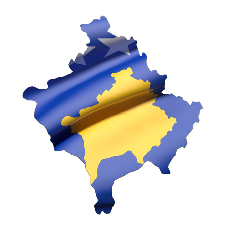 national geographic: 3d rendering of Kosovo map and flag on white background. Stock Photo