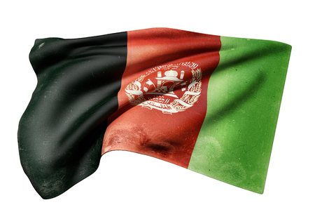 3d rendering of an old and dirty Afghanistan flag waving on white background