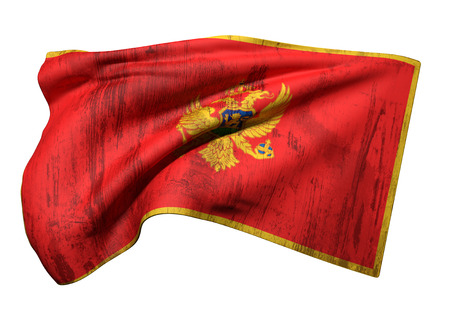 3d rendering of a dirty Montenegro flag waving