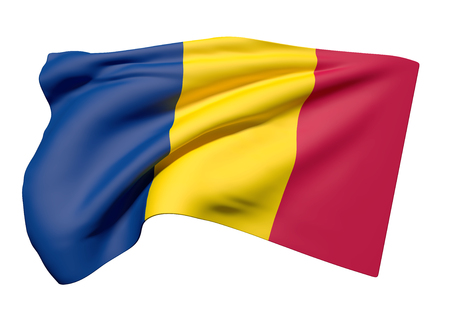 chad flag: 3d rendering of Republic of Chad flag waving on a white background
