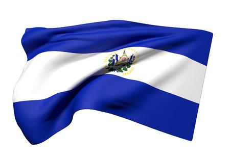 bandera de el salvador: representación 3D de la bandera de República de El Salvador ondeando sobre un fondo blanco Foto de archivo