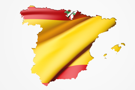 3d rendering of  map of Basque Country with flag of Spain Stock Photo