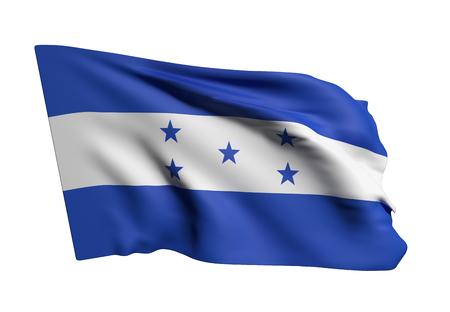 bandera honduras: Las 3D de la bandera de Honduras que agita en un fondo blanco