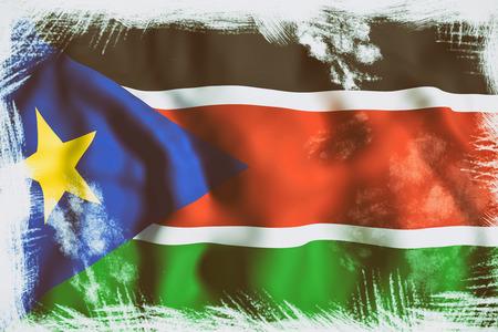south sudan: 3d rendering of South Sudan flag waving
