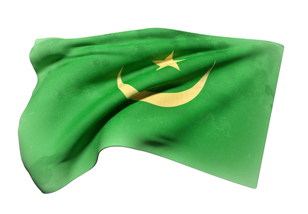 �rabe: 3d rendering of Mauritania flag waving on a white background