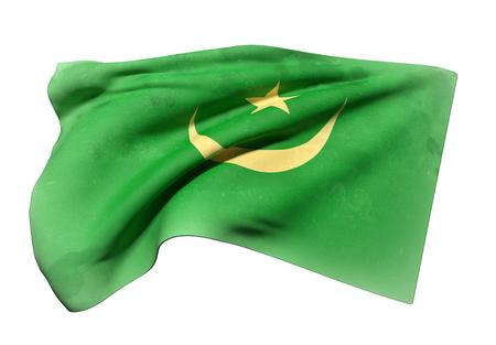 arabe: Las 3D de la bandera de Mauritania ondeando en un fondo blanco Foto de archivo