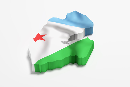 djibouti: 3d rendering of Djibouti map and flag.