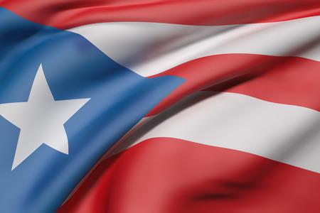 bandera de puerto rico: Las 3D de la Comunidad de bandera de Puerto Rico agitando