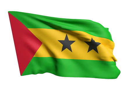 principe: 3d rendering of Democratic Republic of Sao Tome and Principe flag waving