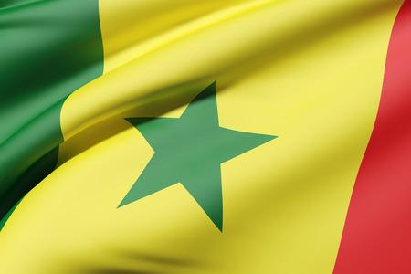 3D-weergave van Senegal vlag zwaaien Stockfoto