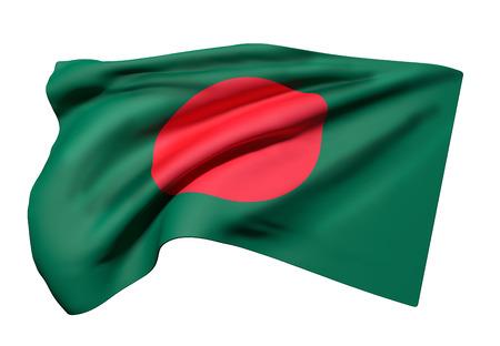 3d rendering of Republic of Bangladesh flag waving on white background Stock Photo