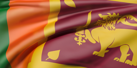 sri lankan flag: 3d rendering of Democratic Socialist Republic of Sri Lanka flag waving