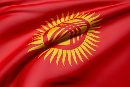 kyrgyzstan: 3d prestación de una bandera ondeando Kirguizistán