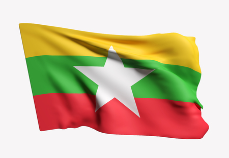 3d rendering of Republic of the Union of Myanmar flag waving on white background