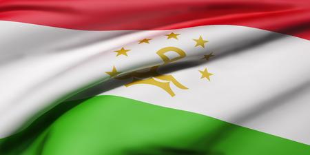 tajikistan: 3d rendering of Republic of Tajikistan flag waving Stock Photo