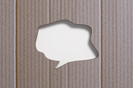 paperboard: 3D rendering of blank speech bubble carved in paperboard background