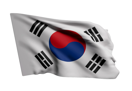 south asian: 3d rendering of a South Korea flag waving on white background Stock Photo
