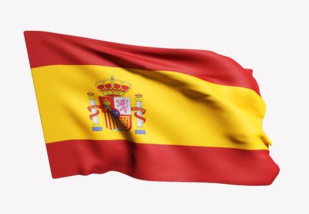madrid: 3d rendering of Spain flag waving on white background