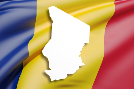 3d rendering of Republic of Chad map and flag. Stock Photo