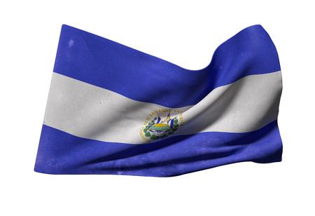 bandera de el salvador: representación 3D de la bandera de República de El Salvador ondeando en el fondo blanco Foto de archivo