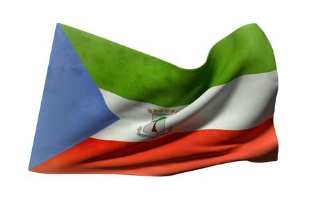 equatorial: 3d rendering of Equatorial Guinea flag waving