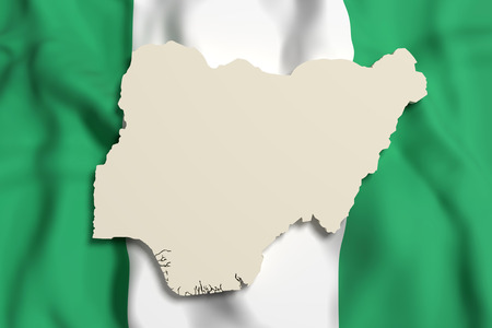 country nigeria: 3d rendering of Nigeria map and flag.