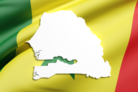 3d rendering of Senegal map and flag.