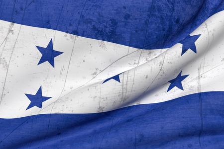 bandera honduras: 3d prestación de un viejo y sucio bandera de Honduras que agita Foto de archivo