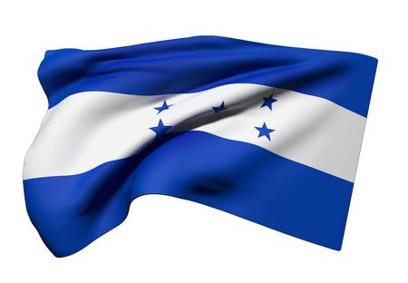 bandera honduras: Las 3D de la bandera de Honduras ondeando en el fondo blanco