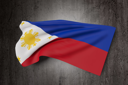 filipino: 3d rendering of a Republic of the Philippines flag waving on a dirty background